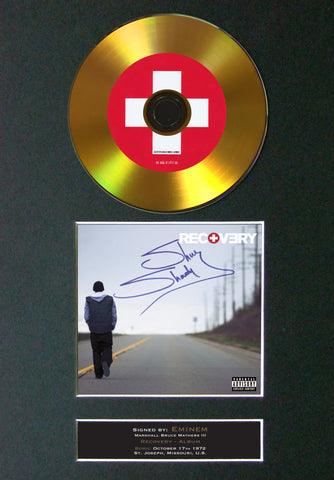 #113 Eminem - Recovery GOLD DISC Cd Album Signed Autograph Mounted Print