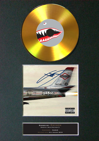#181 EMINEM Kamikaze GOLD DISC Cd Album Signed Autograph Mounted Photo Print