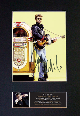 GEORGE MICHAEL Memorial Signed Autograph Mounted Photo Reproduction PRINT A4 641