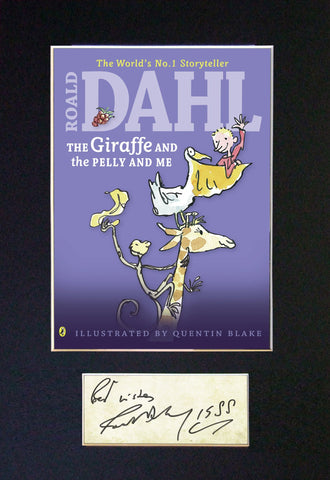 ROALD DAHL The Giraffe and the Pelly & Me Book Cover Autograph Signed Print 682