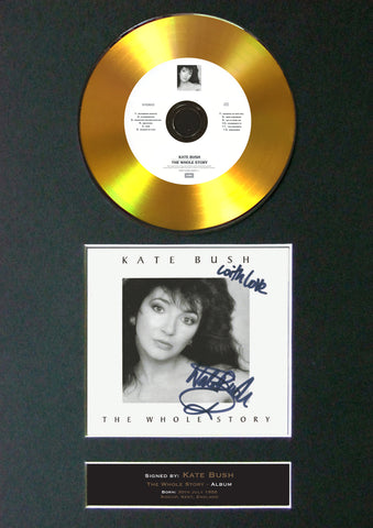 #93 Kate Bush - The Whole Story GOLD DISC Cd Album Signed Autograph Mounted Print