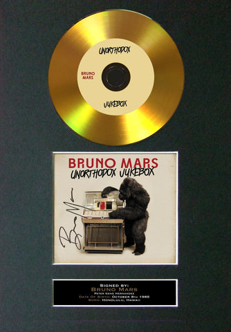 #125 Bruno Mars - Unorthodox Jukebox GOLD DISC Cd Single Album Signed Autograph Mounted Re-Print