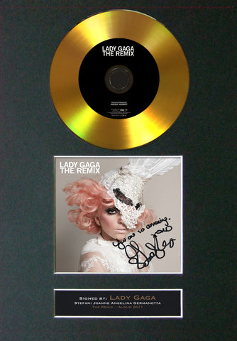 #87 Lady Gaga - The Remix GOLD DISC Cd Album Signed Autograph Mounted Print
