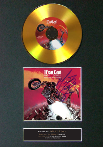 #89 Meatloaf - Bat out of Hell GOLD DISC Cd Album Signed Autograph Mounted Print
