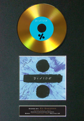 #110 Ed Sheeran - Divide GOLD DISC Cd Album Signed Autograph Mounted Photo Print