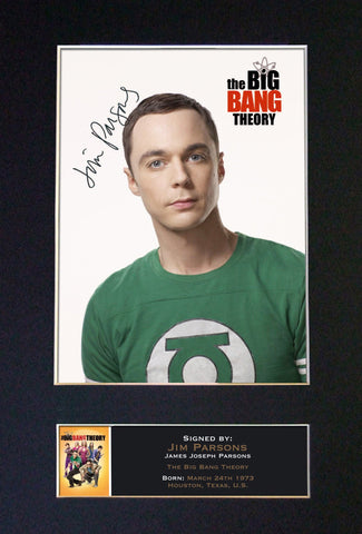 JIM PARSONS Big Bang Mounted Signed Photo Reproduction Autograph Print A4 340