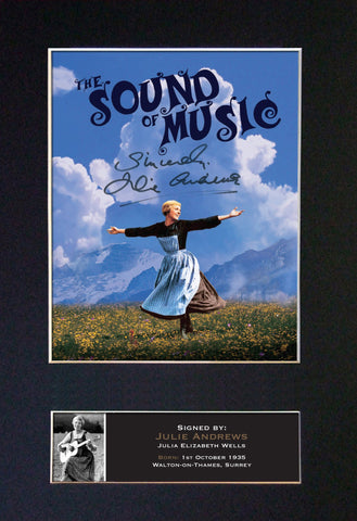 JULIE ANDREWS Sound of Music Signed Autograph Mounted Quality Photo PRINT A4 818