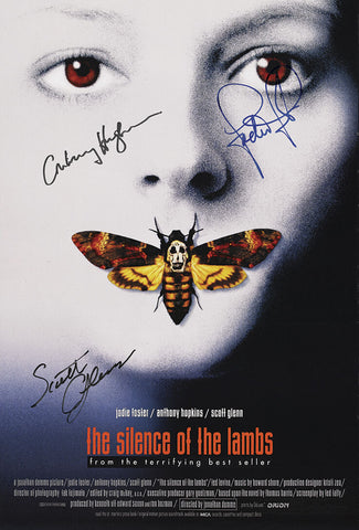 SILENCE OF THE LAMBS AUTOGRAPH MOVIE POSTER A2 594 x 420mm (Very Rare)