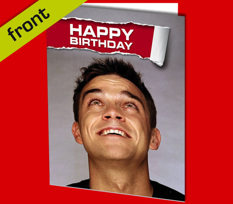 ROBBIE WILLIAMS Autograph BIRTHDAY Repro Card Including Envelope A5 21x15mm