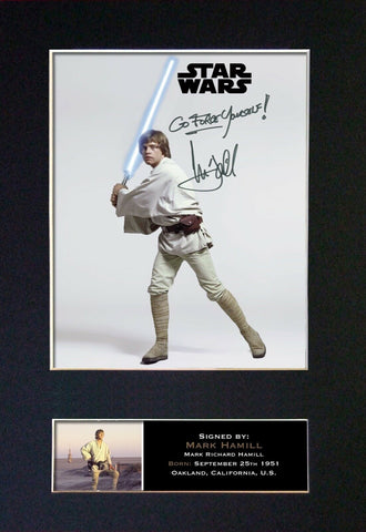 LUKE SKYWALKER Gift Signed A4 Printed Autograph Star Wars Gifts Mark Hamill #842