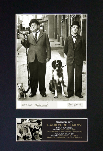 LAUREL AND HARDY No1 Autograph Mounted Signed Photo Reproduction Print A4 19