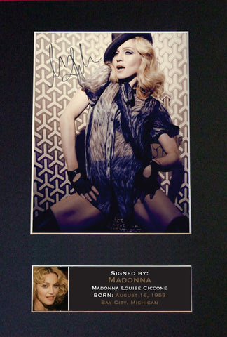 MADONNA Mounted Signed Photo Reproduction Autograph Print A4 229