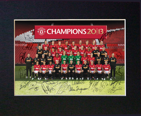 MANCHESTER UTD 2013 Mounted Signed Photo Reproduction Autograph Print A4 54