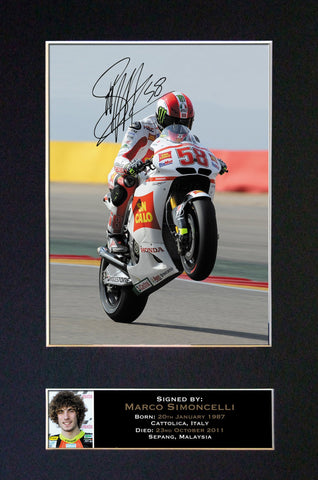 MARCO SIMONCELLI Mounted Signed Photo Reproduction Autograph Print A4 35