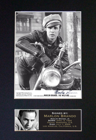 MARLON BRANDO Mounted Signed Photo Reproduction Autograph Print A4 17
