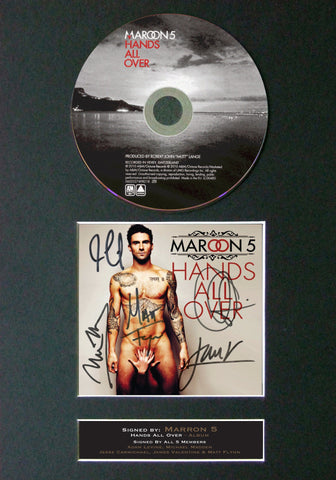 MAROON 5 Hands all Over Album Signed CD COVER MOUNTED Autograph Re-Print A4 64