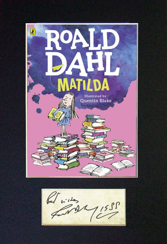 ROALD DAHL Matilda Book Cover Autograph Signed Repro A4 Mounted Print 674