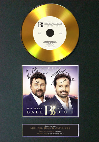 Michael Ball & Alfie Boe - Together Again GOLD DISC Album Signed Autograph Mounted Repro