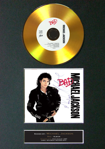 #104 GOLD DISC MICHAEL JACKSON Bad Album Signed Autograph Mounted Repro A4