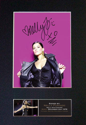 NELLY FURTADO Signed Autograph Mounted Photo Reproduction PRINT A4 654