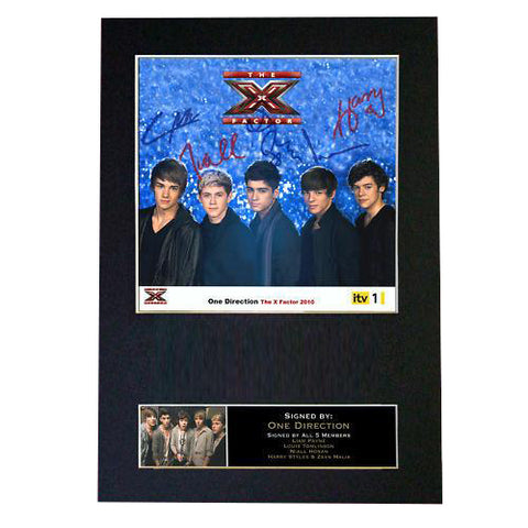 ONE DIRECTION X FACTOR Signed Autograph Mounted Photo Repro A4 Print