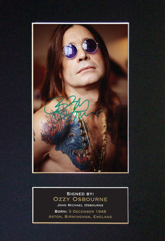 OZZY OSBOURNE Mounted Signed Photo Reproduction Autograph Print A4 90