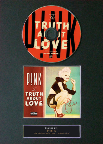 PINK The Truth About Love Album Signed CD COVER MOUNTED A4 Autograph Print 10