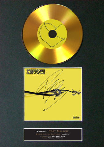 #194 Post Malone - Beerbugs & Bentleys GOLD DISC Album Signed Autograph Mounted Repro