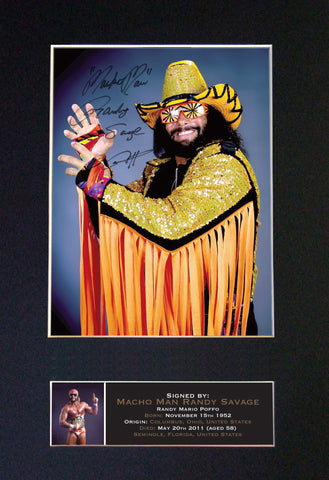 Macho Randy Savage Signed Autograph Quality Mounted Photo Repro A4 Print 638