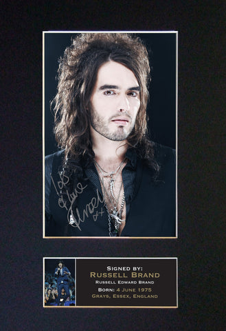 RUSSELL BRAND Mounted Signed Photo Reproduction Autograph Print A4 1