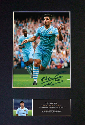 SERGIO AGUERO Man City Signed Quality Autograph Mounted Photo Repro A4 Print 455
