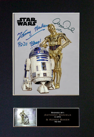 Star Wars Anthony Daniels & Kenny Baker C-3PO R2-D2 Signed Printed Autograph 844
