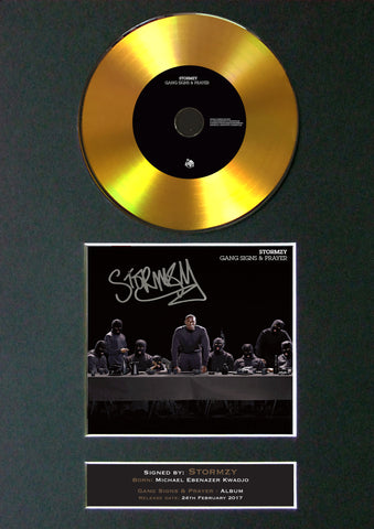 #160 GOLD DISC STORMZY Gang Signs & Prayer Album Signed Autograph Mounted Repro