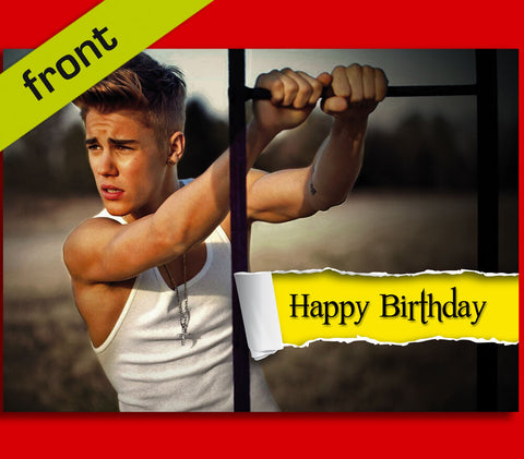 No3 JUSTIN BIEBER Autograph BIRTHDAY Card Reproduction Including Envelope A5