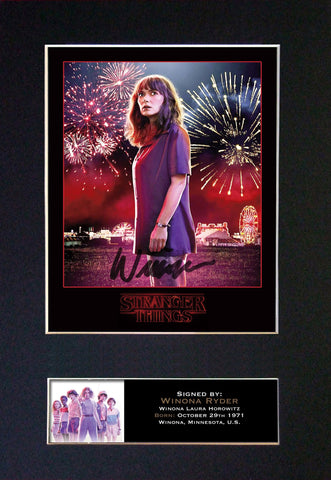 STRANGER THINGS Winona Ryder Autograph Mounted Signed Photo RePrint #835