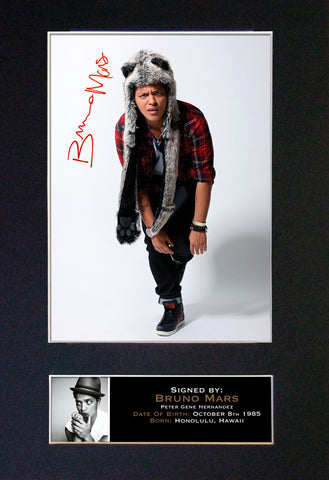 BRUNO MARS Mounted Signed Photo Reproduction Autograph Print A4 93
