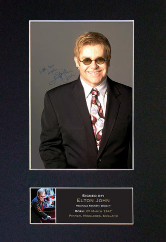ELTON JOHN Autograph Mounted Signed Photo Reproduction Print A4 162