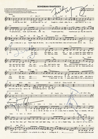 QUEEN BOHEMIAN RHAPSODY Signed Music Sheet Autograph Mounted A4 Re-Print 769