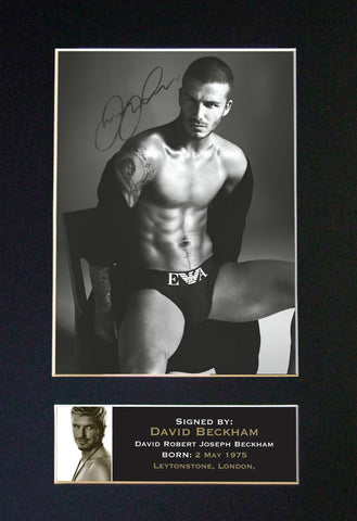DAVID BECKHAM Signed Autograph Photo Mounted Repro A4 PRINT 40