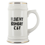 I Love My Bombay Black Cat White Ceramic Beer Stein Mug (22oz): Funny Gift Idea For Cat & Beer Lovers
