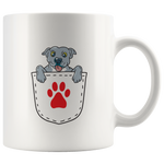 Blue Nose PitBull Puppy In A Pocket With a Paw Print Coffee Mug: Cute  Gift Idea For Dog Lovers