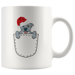 Blue Nose PitBull Puppy In A Pocket With a Christmas Hat Coffee Mug