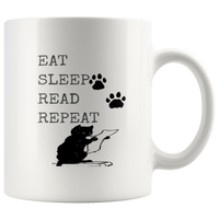 Eat Sleep Read Repeat: Funny Black Cat Mug