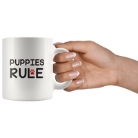 Cute Puppies Rule Mug With Red Paw Print
