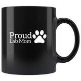 Cute Proud Lab Dog Mom Coffee Mug With A Paw Print On The Side