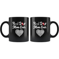 Best Dog Mom Ever Mug With A Christmas Hat & Heart