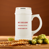 My Heart Belongs To My Husky Ceramic Beer Stein Mug: Cute Valentine's Day Gift Idea For Beer Lovers
