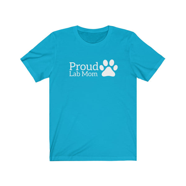 Womens Cute Proud Lab Dog Mom T-Shirt With A Paw Print On The Side