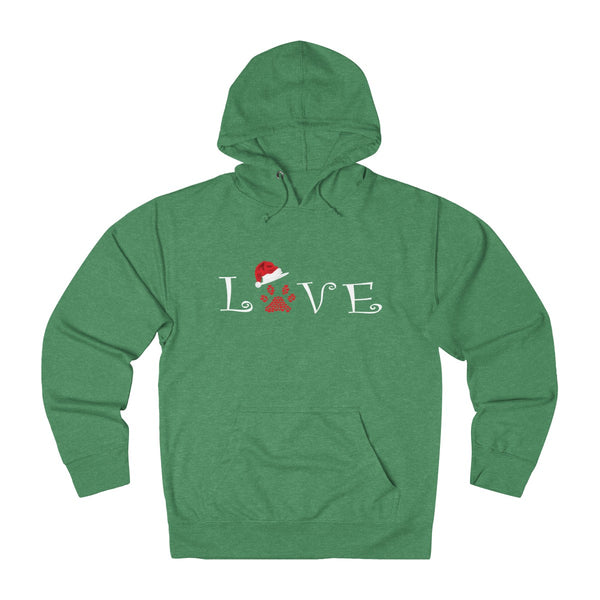 Love With A Dog Paw Print & A Christmas Hat hoodie