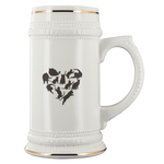 Heart With Black Cats White Ceramic Beer Stein Mug (22oz): Funny Gift Idea For Cat & Beer Lovers